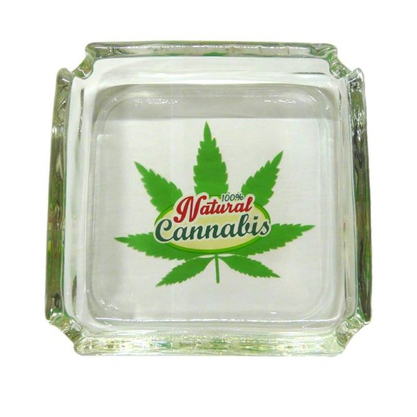Szklana popielniczka CANNABIS 10x10